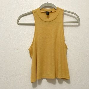 Forever 21 Solid Yellow Ribbed Tank